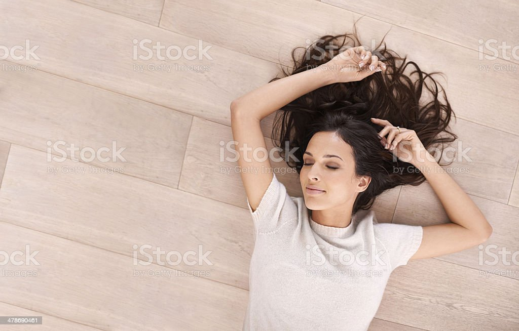 Serene beauty on the floor stock photo