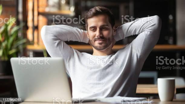 Serene businessman sitting at table feels satisfied accomplishing picture id1172964257?b=1&k=6&m=1172964257&s=612x612&h=ageh4uooxn xavs77q4lpaan55dahsgoihpwh3nb3au=