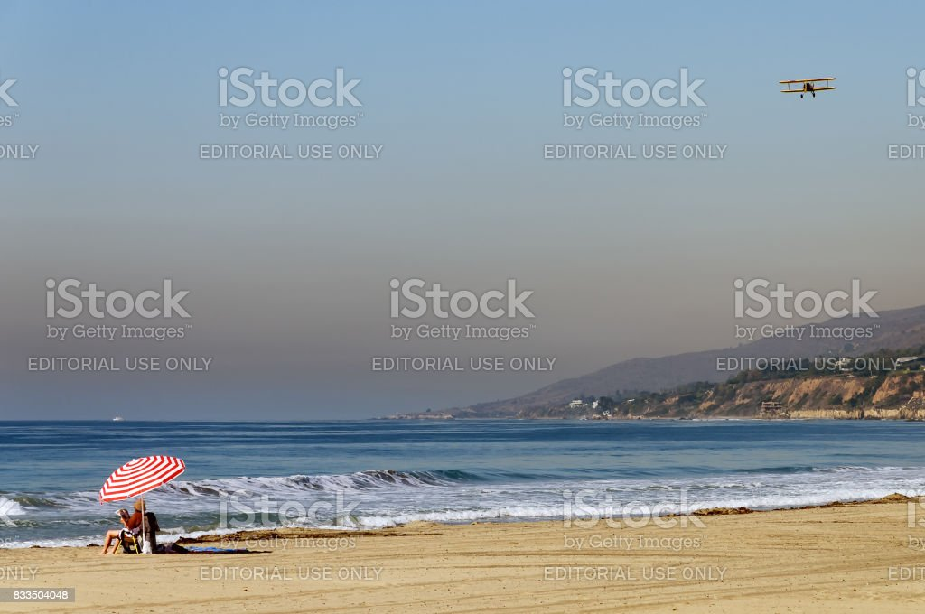 Serene California beach scene stock photo