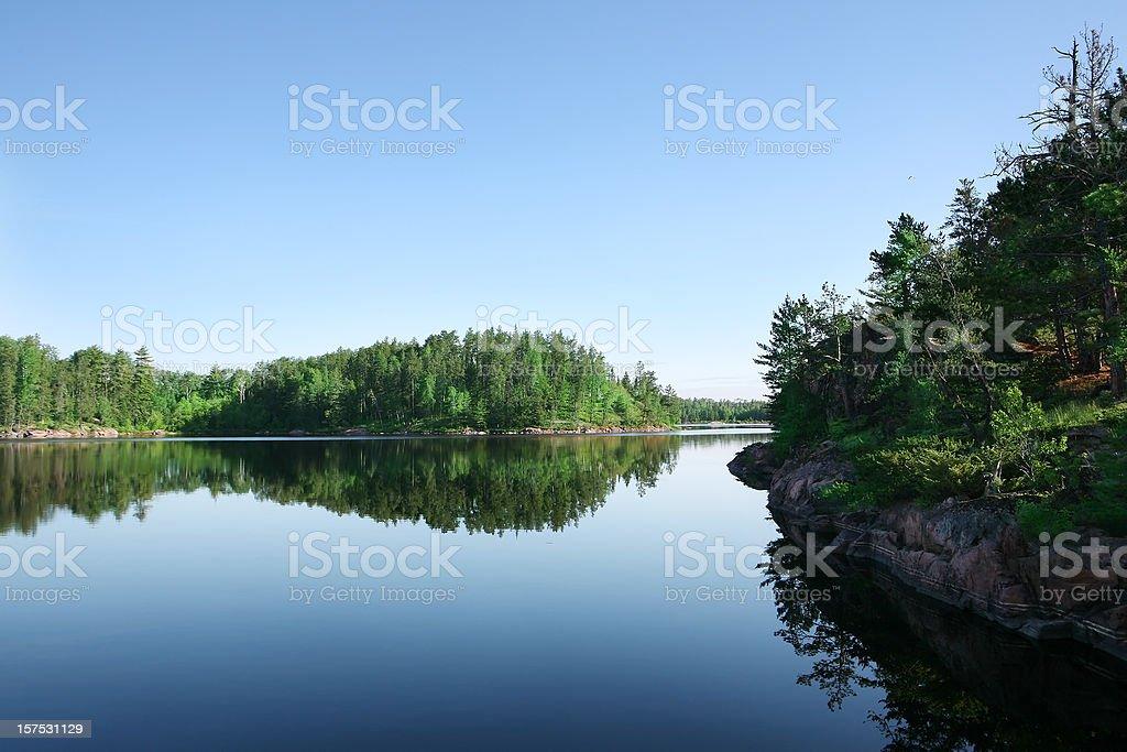 Serene Lake on Perfect Summer Morning stock photo