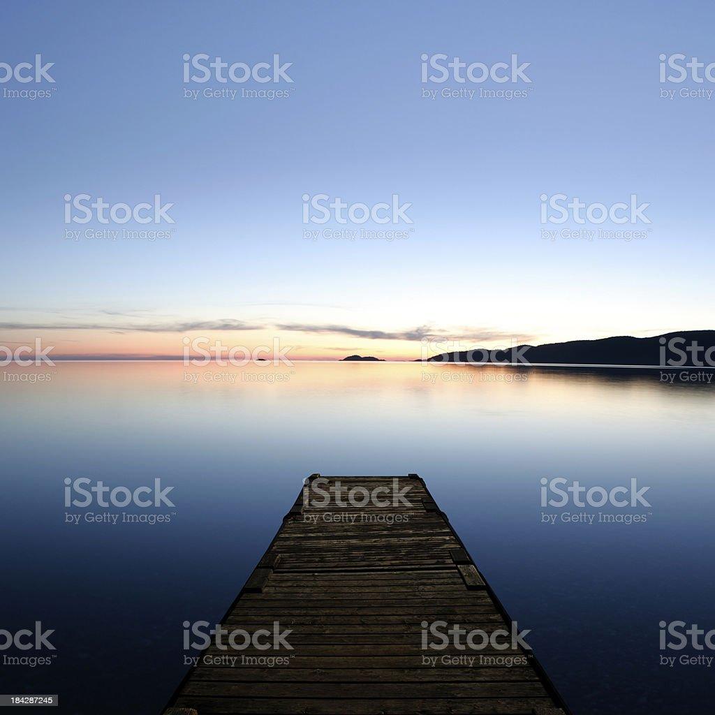 XXL serene lake with dock royalty-free stock photo