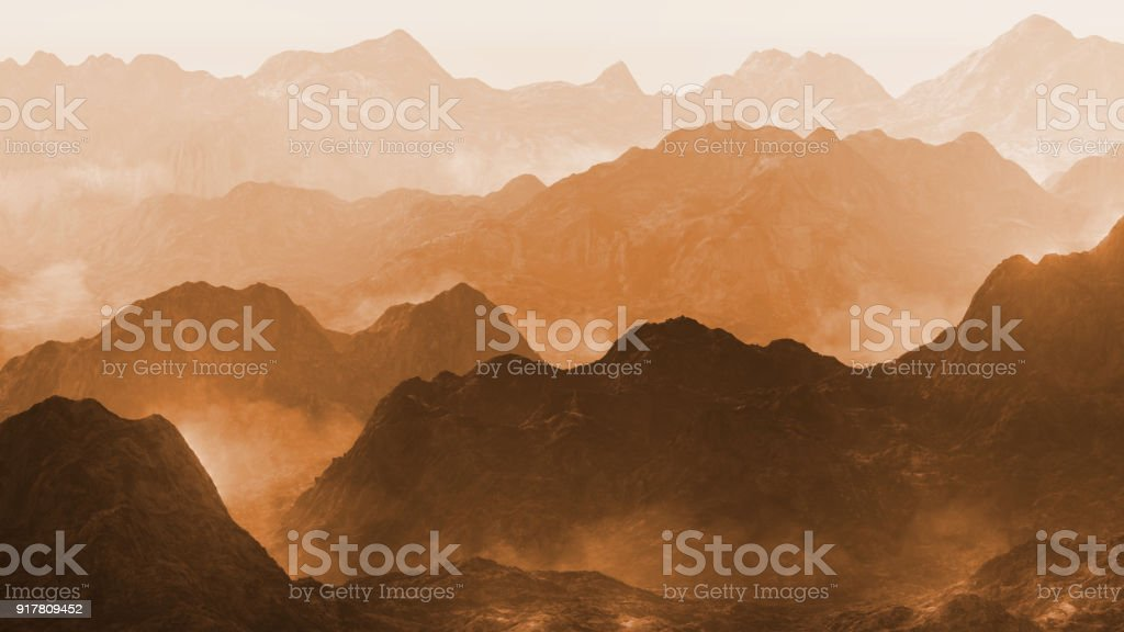serene landscape with low crawling fog in stylized mountains stock photo