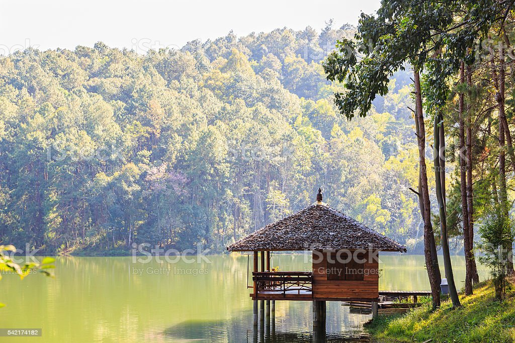 Serene lodging house at Pang Ung stock photo