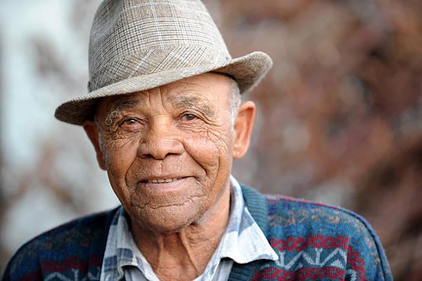 Serene Old Man smiling stock photo