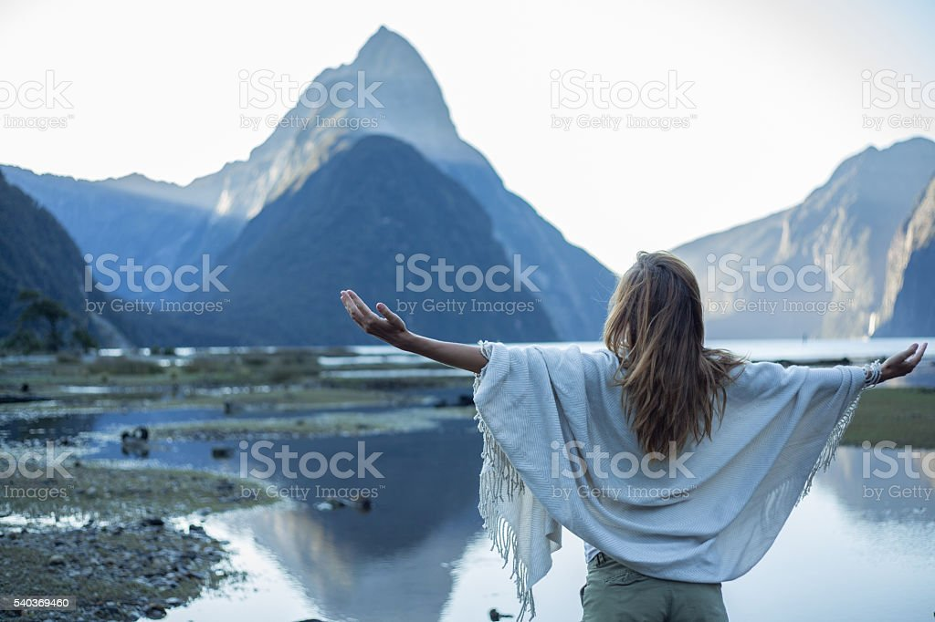 Serene people in a tranquil scene stock photo