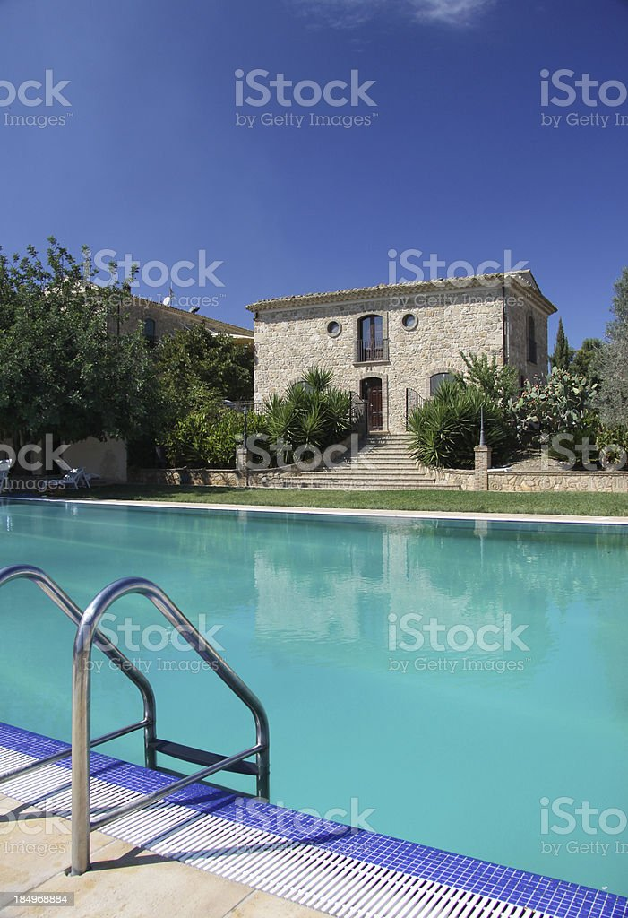 serene pool with blue colors and sky royalty-free stock photo