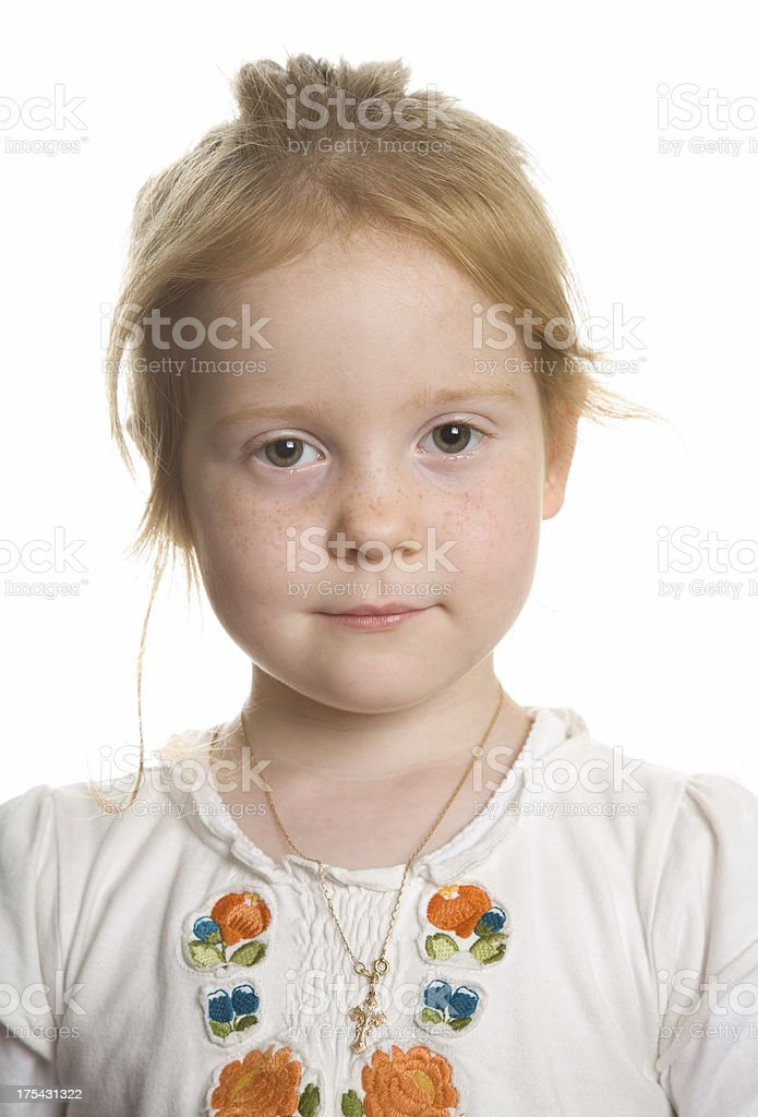 """Serene portrait of a young girl """"Little blonde girl, aged 4, in a relaxed pose."""" Beautiful People Stock Photo"""