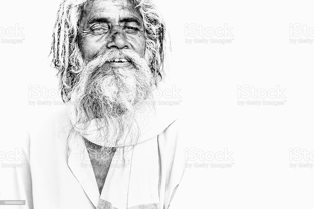 Serene sadhu stock photo
