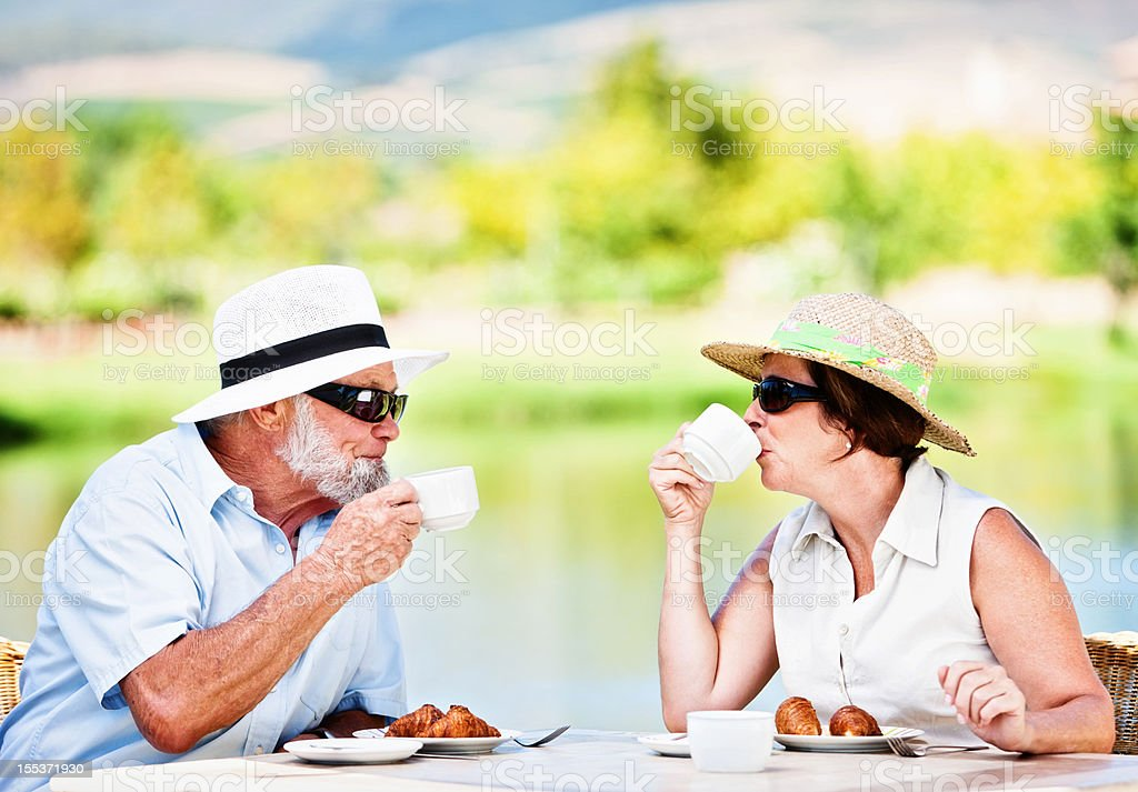 Serene senior couple enjoying tea in scenic surroundings royalty-free stock photo