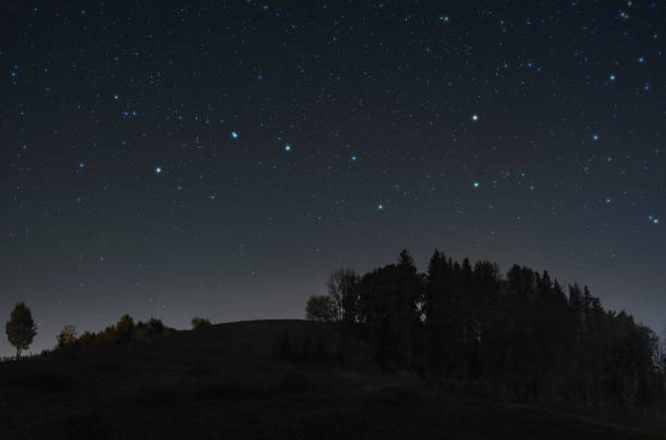 Serene starry night A picture of the starry night sky with Ursa Major constellation over the hill big dipper constellation stock pictures, royalty-free photos & images