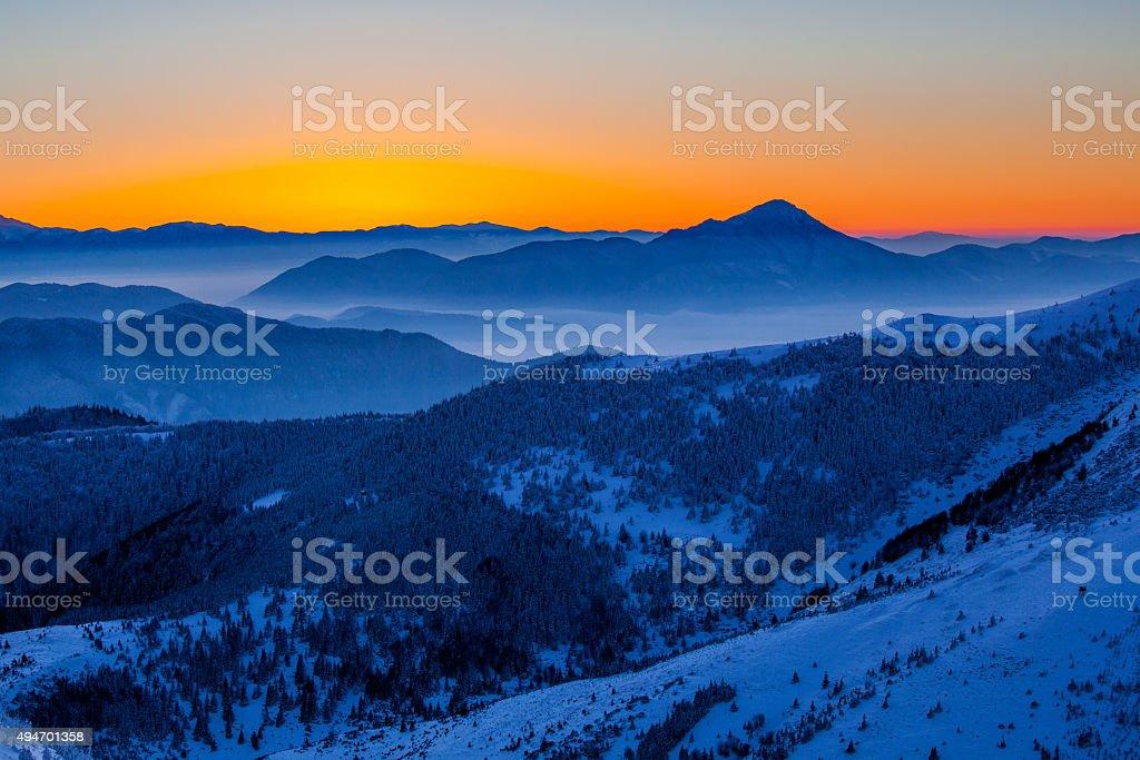Serene sunrise in Mala Fatra, Slovakia stock photo