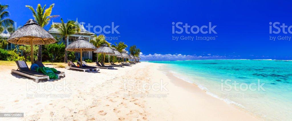 Serene tropical holidays - perfect white sandy beaches of Mauritius island stock photo