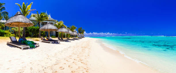 Serene tropical holidays - perfect white sandy beaches of Mauritius island stock photo
