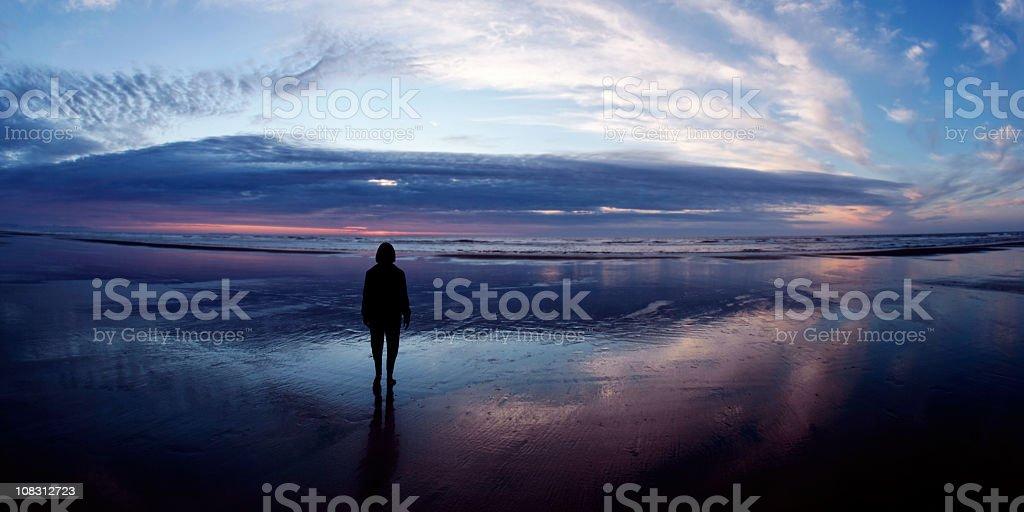 XL serene woman silhouette stock photo