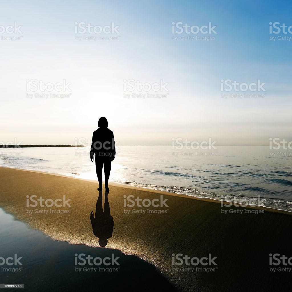 serene woman silhouette royalty-free stock photo