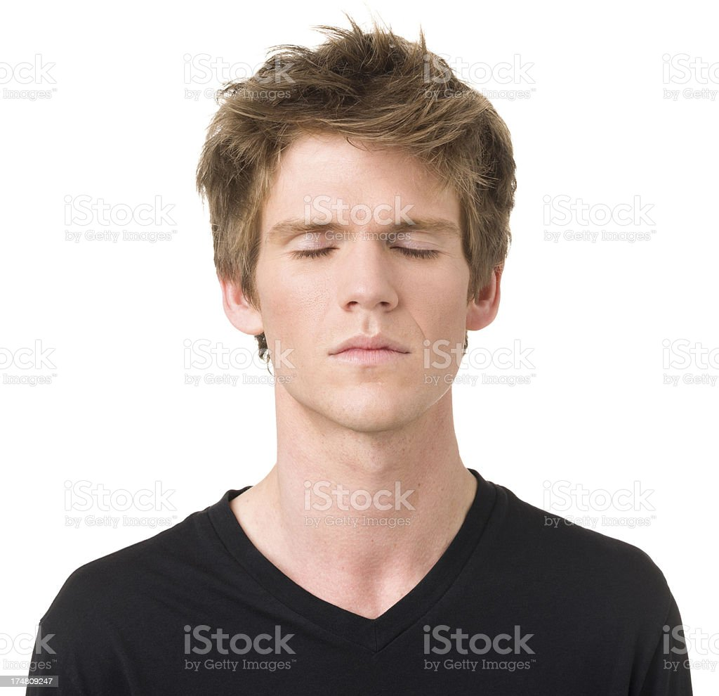 Serene Young Man With Eyes Closed royalty-free stock photo