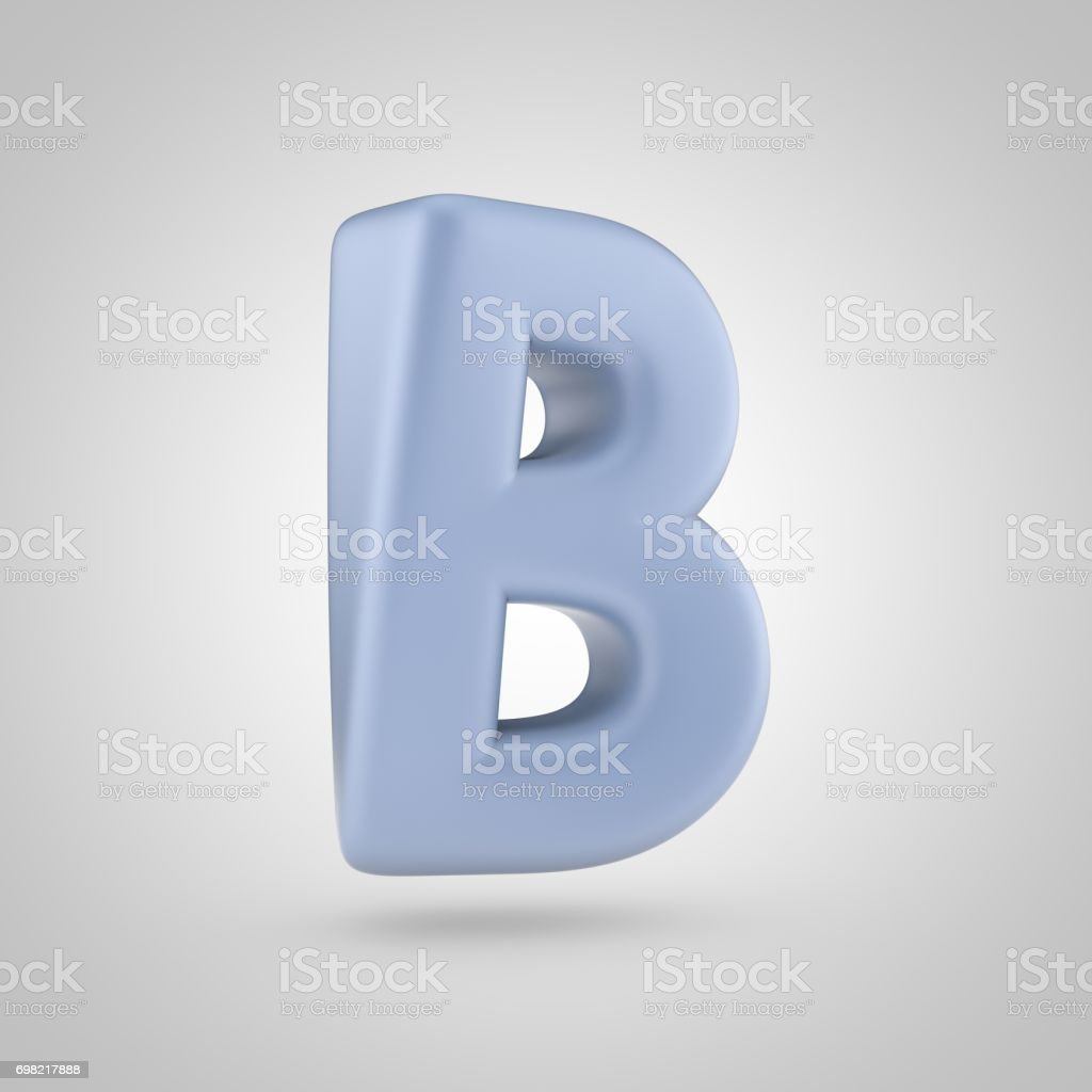 serenity color letter b uppercase isolated on white background royalty free stock photo