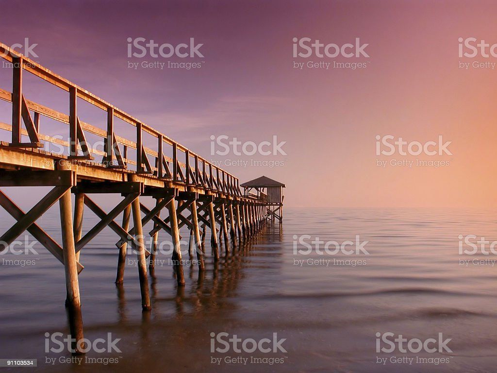 Serenity on a Mississippi Pier stock photo