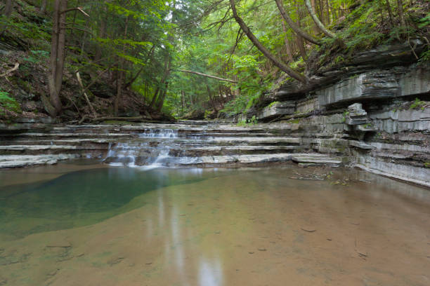 Serenity Tranquil pool hidden by rock walls.  Summer within the gorge of Buttermilk Falls Park. michael stephen wills waterfall stock pictures, royalty-free photos & images
