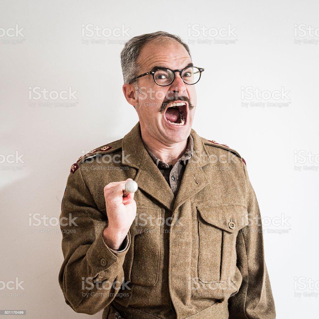 Sergeant Major Shouting stock photo