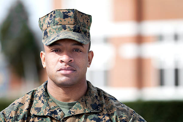 Sergeant of Marines Marine sergeant standing in fron of a building. military lifestyle stock pictures, royalty-free photos & images