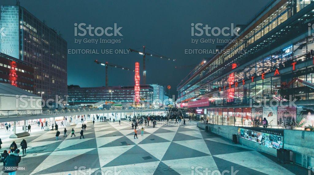 Sergels Torg square at night, central Stockholm, Sweden stock photo