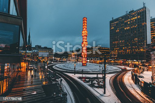 Panoramic view of famous Sergels Torg square with modern skyscrapers and glass Obelisk Kristallvertikalacc at early morning in Central downtown Stockholm, Sweden, Scandinavia