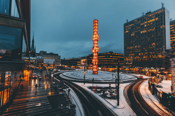 Sergels Torg square view at night in Stockholm, Sweden stock photo