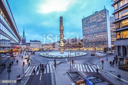 An evening at Sergels Torg with glass Obelisk Kristallvertikalacc in Stockholm, Sweden