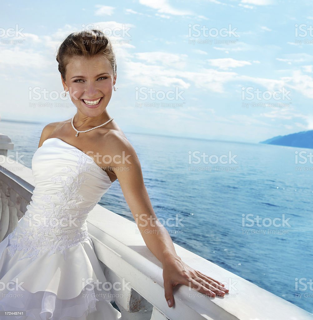 Series: Beautiful Bride  at the water view. stock photo