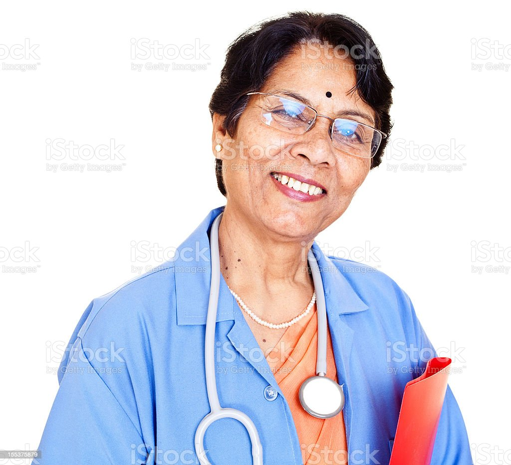 Series... Cheerful Senior Indian Doctor with Medical Report on White royalty-free stock photo