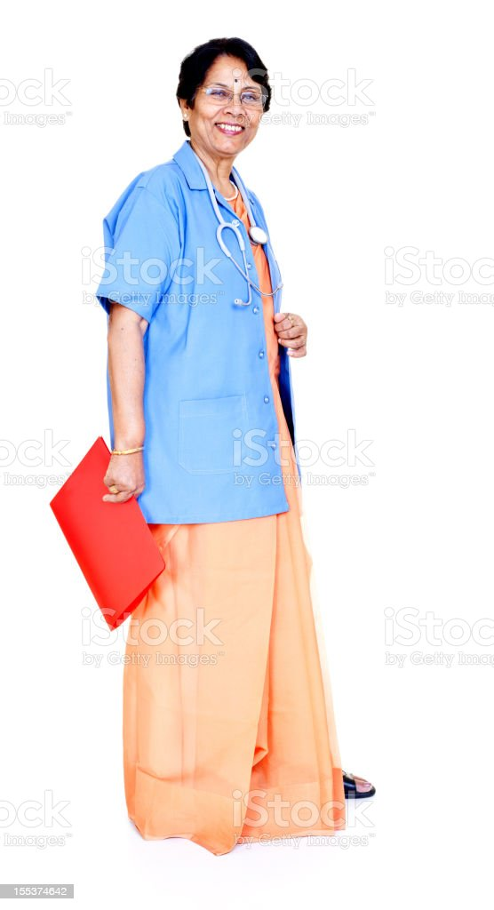 Series - Cheerful Senior Indian Female Doctor with Medical Report royalty-free stock photo
