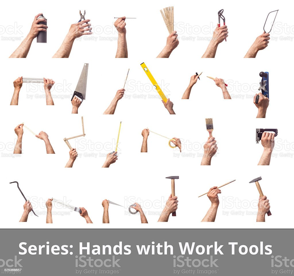 Series: Hands Holding Work Tools and  Tape stock photo