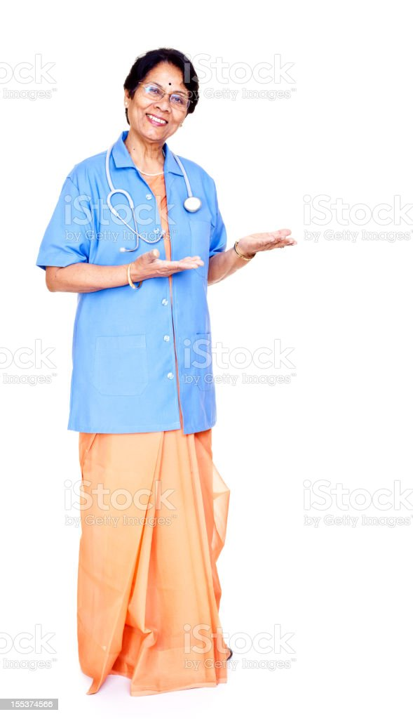 Series - isolated Cheerful Senior Indian Female Doctor Full Length royalty-free stock photo