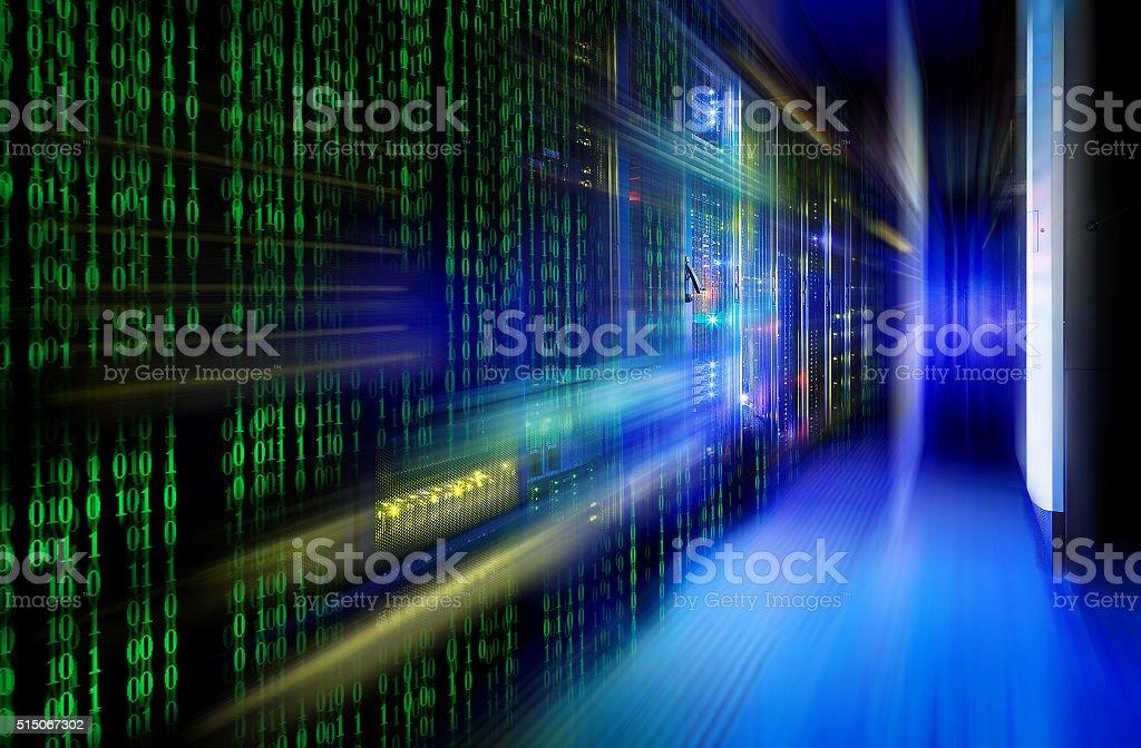 series mainframe in a futuristic representation of a matrix code stock photo