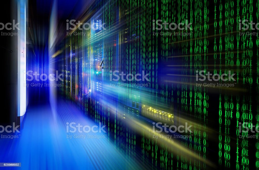 Series Mainframe In Futuristic Representation Of Matrix Code Stock