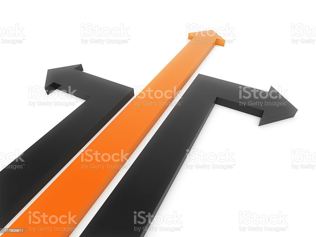 Series of 3-D orange and black arrows stock photo