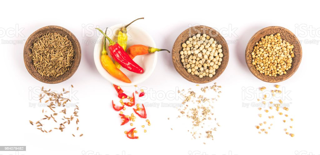 Series of cups with spices isolated on white background - Royalty-free Allspice Stock Photo