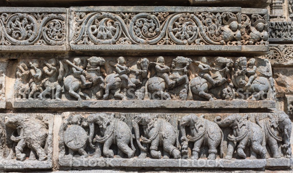 Series of different friezes at Chennakesava Temple, Somanathpur India. stock photo