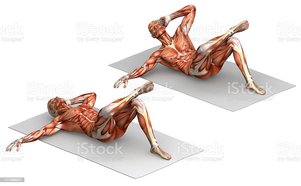 Series of exercises: Sit-ups royalty-free stock photo