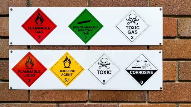 una serie de gases y productos químicos inflamables, no inflamables, tóxicos, corrosivos y oxidantes - química fotografías e imágenes de stock