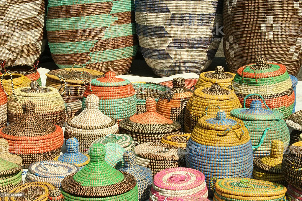 A series of hand woven African sea grass baskets stock photo