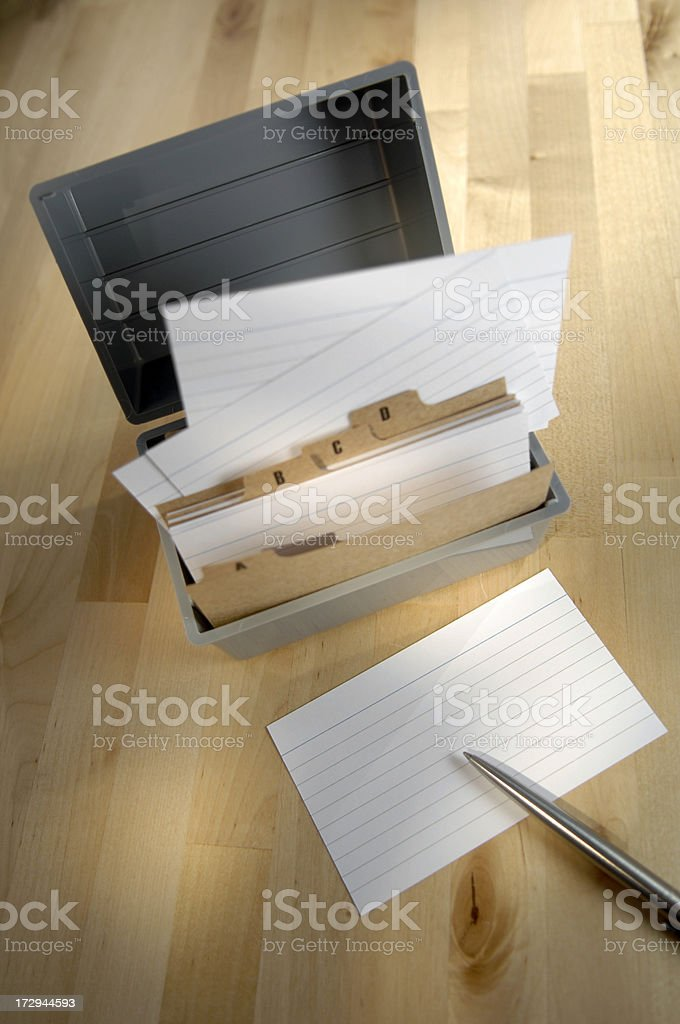 Series of note cards organized in a container. royalty-free stock photo