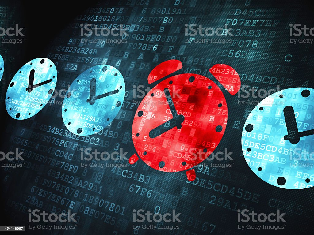 A series of red & blue alarm clocks on a digital background stock photo