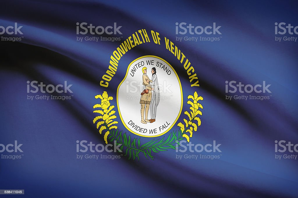 Series of ruffled flags - Kentucky. stock photo