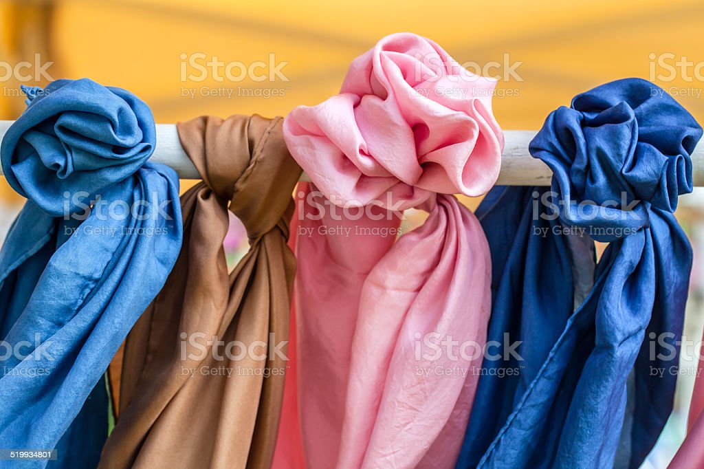 Series of silk pashminas stock photo