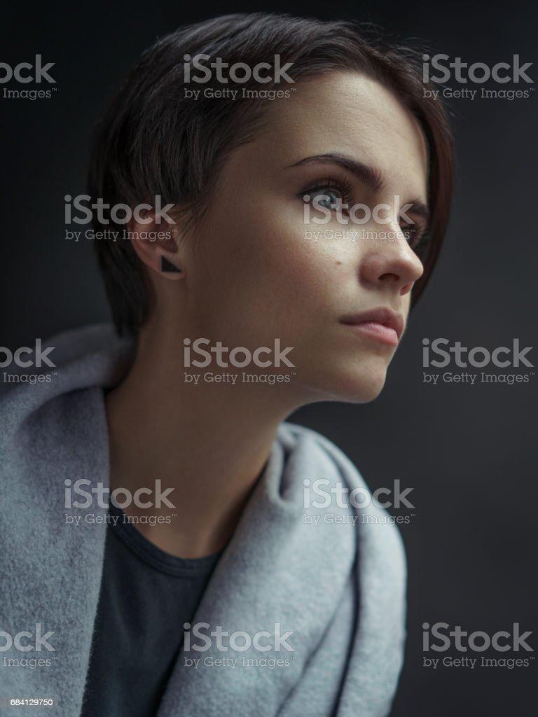 Een reeks van studio portretten met een meisje. royalty free stockfoto