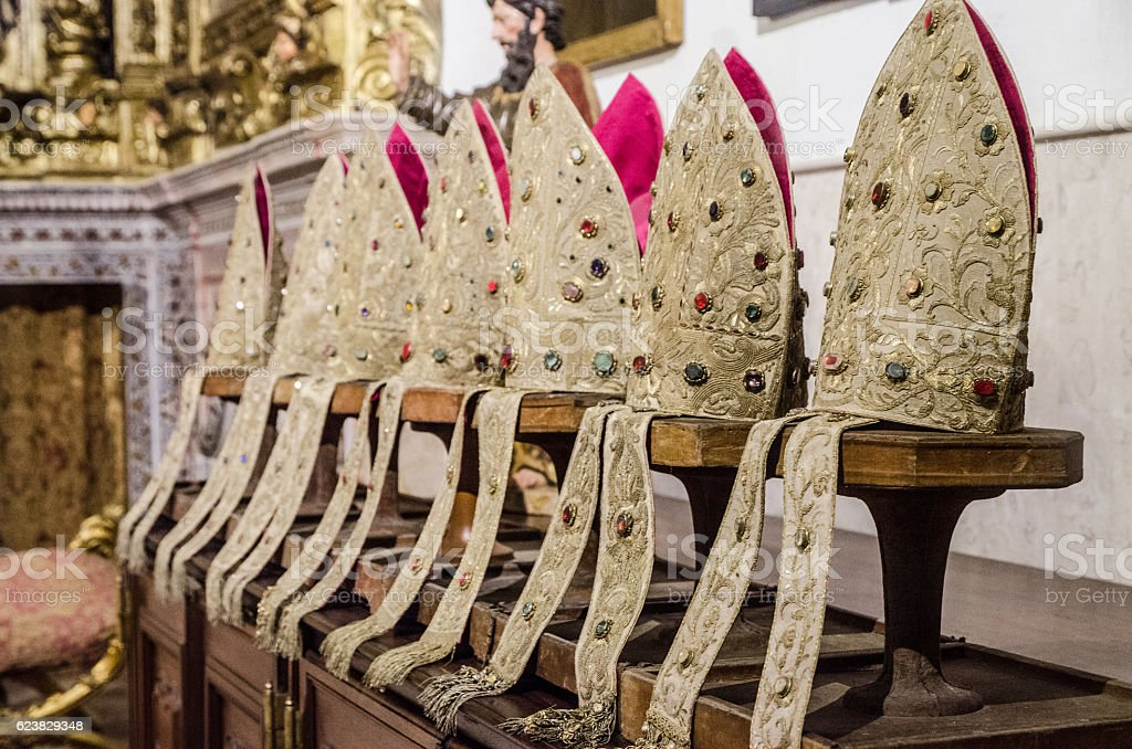 Series of Tiara in the Saint Mary church stock photo
