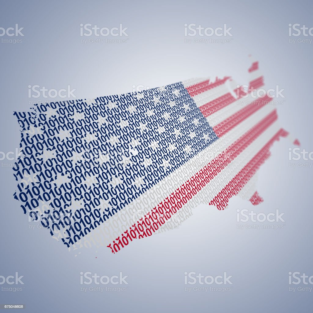 Series of USA flags formed and shaped creatively - binary code stock photo