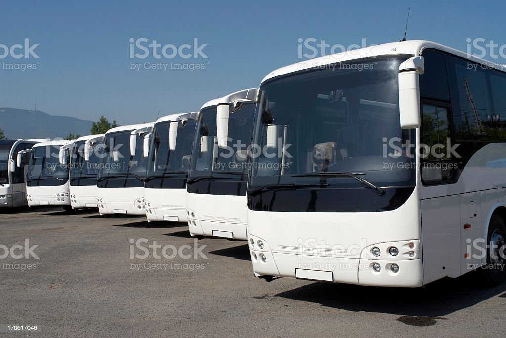 Series of white buses in perspective stock photo